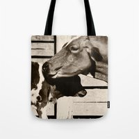 cows Tote Bags featuring Cows by Ana Francisconi