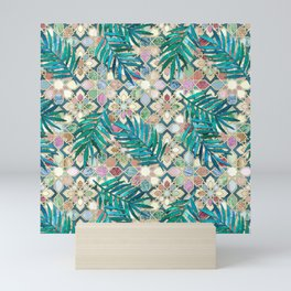Muted Moroccan Mosaic Tiles with Palm Leaves Mini Art Print