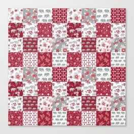 Alabama bama crimson tide quilt pattern florals football varsity alumni Canvas Print