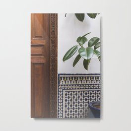 Morocco Riads | Interior travel Photography - patterns found in Morocoo Metal Print
