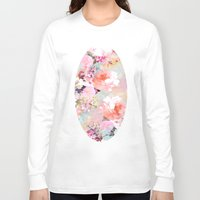 watercolor Long Sleeve T-shirts featuring Love of a Flower by Girly Trend