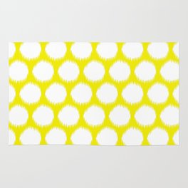 Golden Yellow Asian Moods Ikat Dots Rug