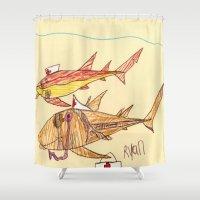 nurse Shower Curtains featuring Nurse Sharks by Ryan van Gogh
