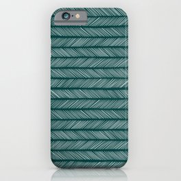 Dark Teal Small Herringbone iPhone Case