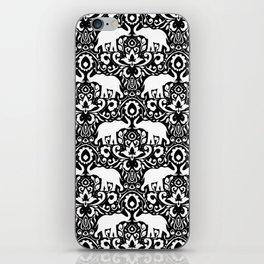 Elephant Damask Black and White iPhone Skin