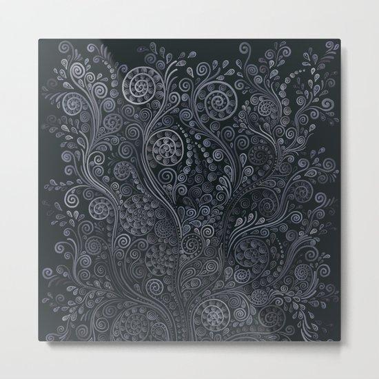 3D ornaments, soft blue Metal Print