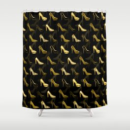 High Heels Golden Shoes pattern Shower Curtain
