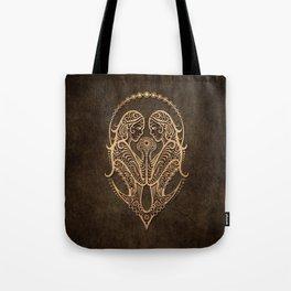 Vintage Rustic Gemini Zodiac Sign Tote Bag