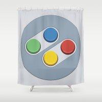 nintendo Shower Curtains featuring Super Nintendo - Buttons by dudsbessa