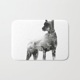 Doberman Pinscher NYC Skyline Bath Mat