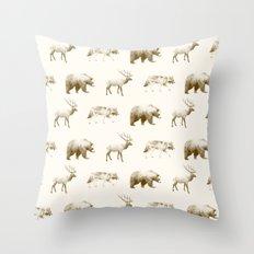 Wild Pattern // Brown Throw Pillow