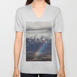 Rainbow and mountains after the storm Unisex V-Neck