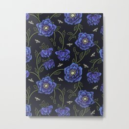 Midnight Hellebore Metal Print