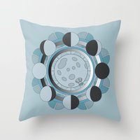 moon phases Throw Pillows featuring Moon Phases by TypicalArtGuy