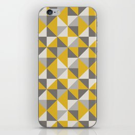Retro Triangle Pattern in Yellow and Grey iPhone Skin