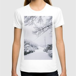 White Winter Snow Trees on the Road T-shirt
