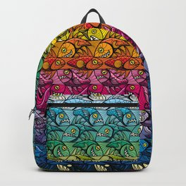Escher FIsh Rainbow Pattern Backpack