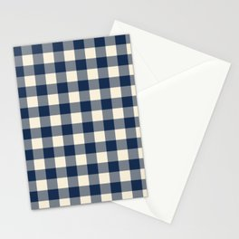 Buffalo Plaid Rustic Lumberjack Blue and White Check Pattern Stationery Cards