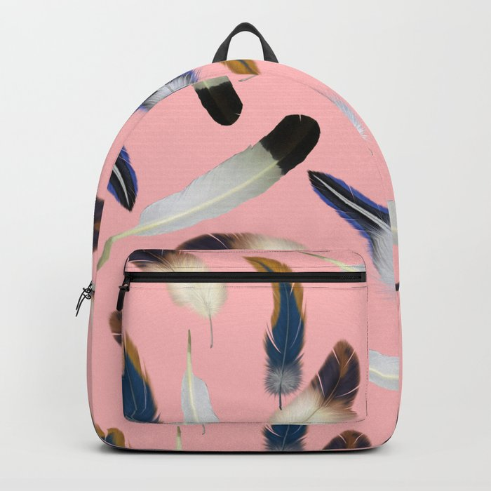 Pattern with feathers on a pink background Backpack