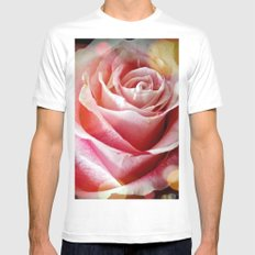 Delicate Rose White MEDIUM Mens Fitted Tee
