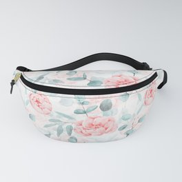 Rose Blush Watercolor Flower And Eucalyptus Fanny Pack