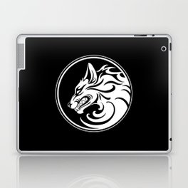 White and Black Growling Wolf Disc Laptop & iPad Skin
