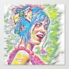 Zooey Deschanel (Creative Illustration Art) Canvas Print