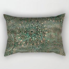 Dot Art Circles Malachite and Gold Rectangular Pillow
