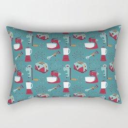 Retro Kitchen - Teal and Raspberry Rectangular Pillow