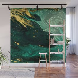 Abstract Pour Painting Liquid Marble Dark Green Teal Painting Gold Accent Wall Mural
