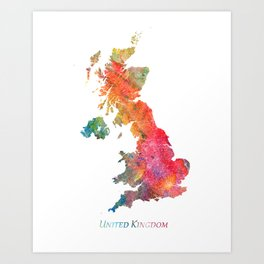 United Kingdom Watercolor Map Art by Zouzounio Art Art Print