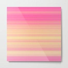 Pink Yellow Gradient Stripes Metal Print