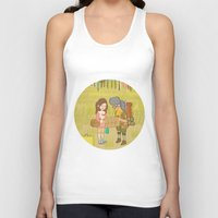 moonrise kingdom Tank Tops featuring 'Moonrise Kingdom' by Nicola Colton illustration