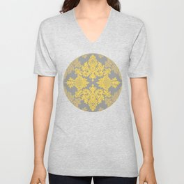 Golden Folk - doodle pattern in yellow & grey Unisex V-Neck