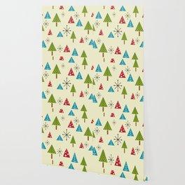 Mid Century Modern Christmas Trees Wallpaper