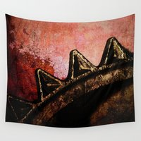 industrial Wall Tapestries featuring Industrial Sunset by Bella Blue Photography