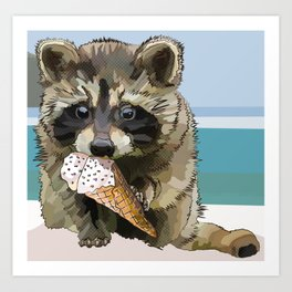 Raccoon Eating Ice-cream on the Beach | Summer Vacation | Cute Baby Animal Art Print
