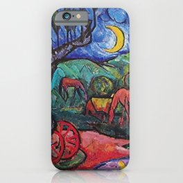 Moonlight on the Horses by the Pool landscape painting by William Sommer iPhone Case