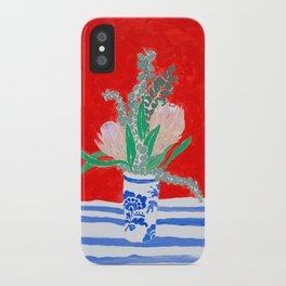 Protea Still Life in Red and Delft Blue iPhone Case