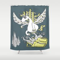 backpack Shower Curtains featuring Magical Mystery Backpack by Amy Gale