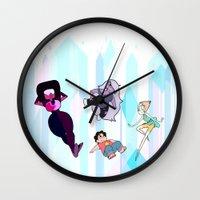 steven universe Wall Clocks featuring Steven Universe by EclecticMayhem