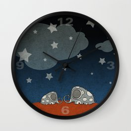 The Night of Grey Elephants Wall Clock
