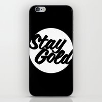 stay gold iPhone & iPod Skins featuring STAY GOLD by HAUS OF DEVON