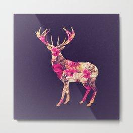 Elegant Pink Vintage Floral Deer On Retro Blue Metal Print