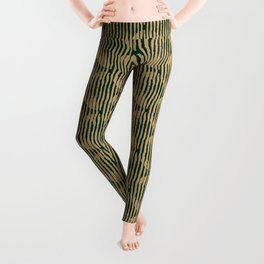 Zen Circles Block Print In Green and Gold Leggings