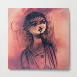Charcoal Red Metal Print