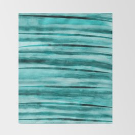 Caribbean Blue Watercolor Stripes Throw Blanket