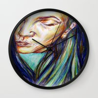 leah flores Wall Clocks featuring Leah by Chloe Gibb