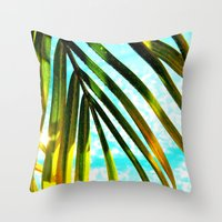 palm tree Throw Pillows featuring Palm by Stephanie Stonato