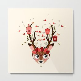 Biche et cabanes à oiseaux (rose) Metal Print